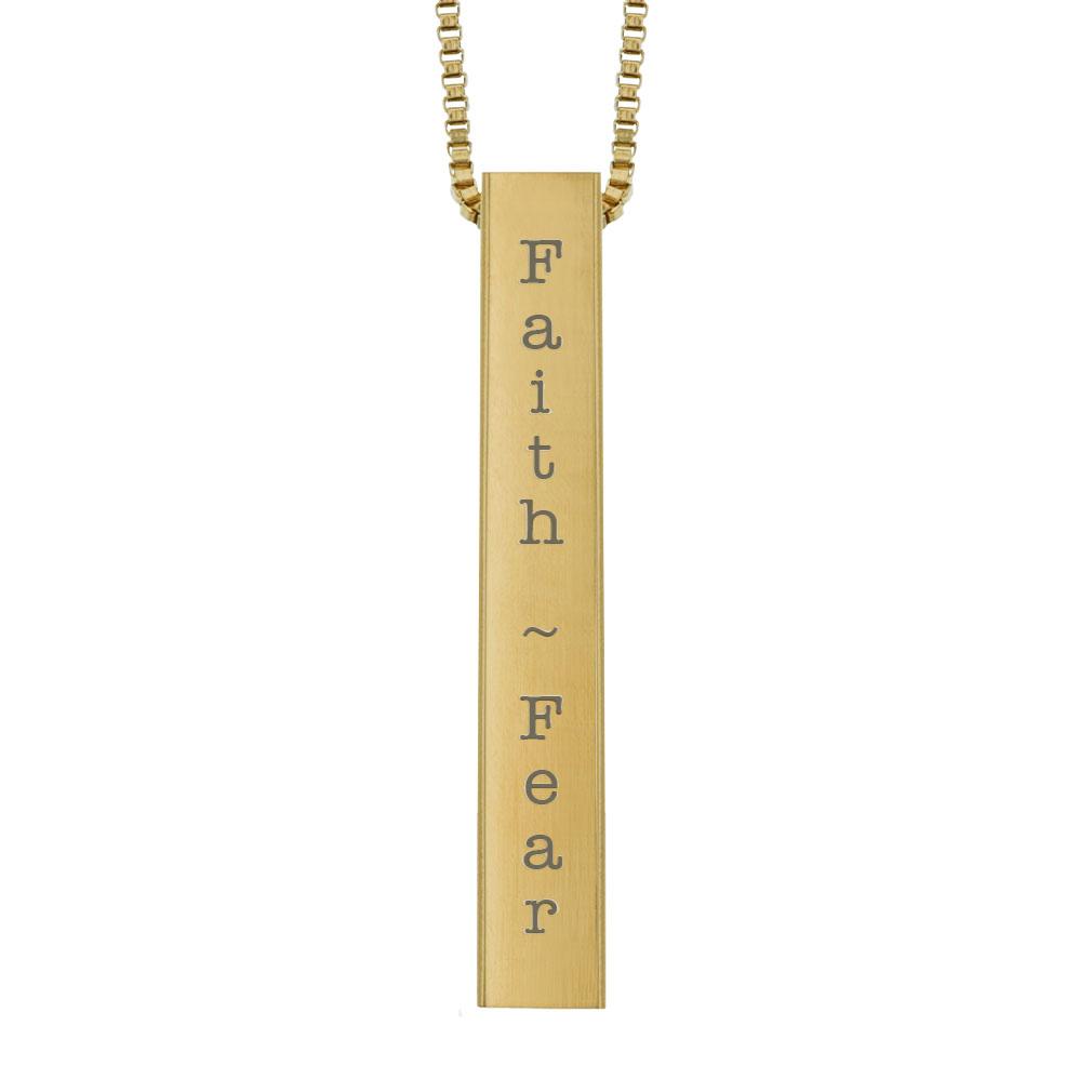 Faith Over Fear Four-Sided Bar Necklace - LDP-FSBN-FAFE