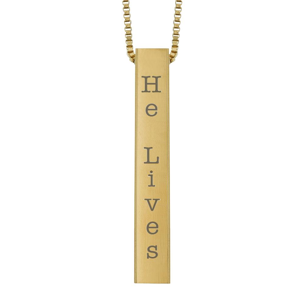 He Lives Four-Sided Bar Necklace - LDP-FSBN-HL