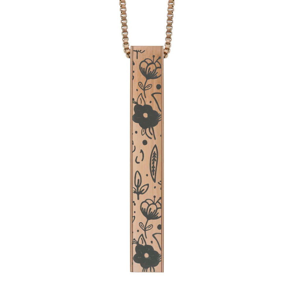 Floral Four-Sided Bar Necklace - LDP-FSBN-FLORAL