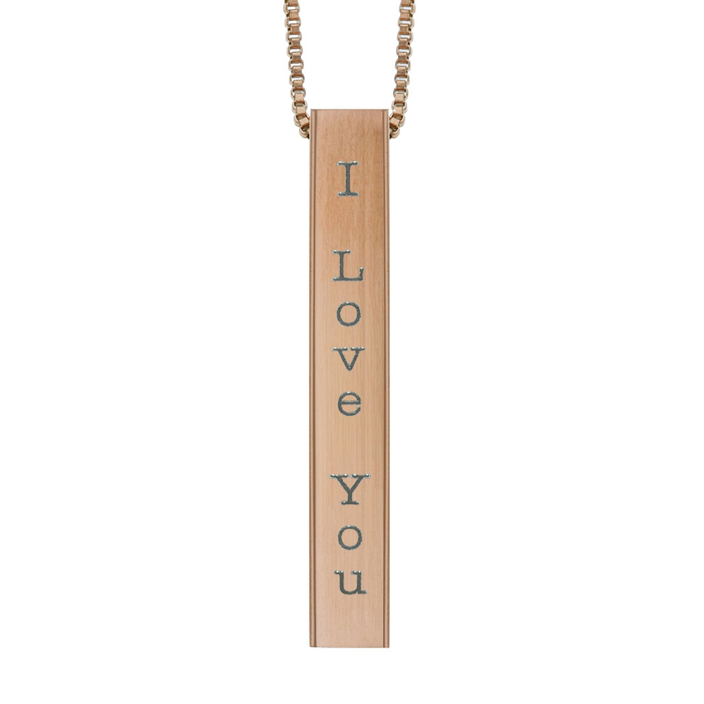 I Love You Four-Sided Bar Necklace - LDP-FSBN-LOVEU
