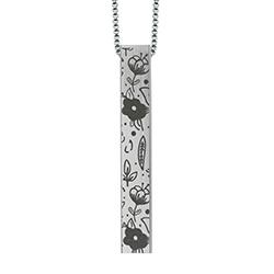 Floral Four-Sided Bar Necklace lds necklaces, lds bar necklace, lds baptism gift