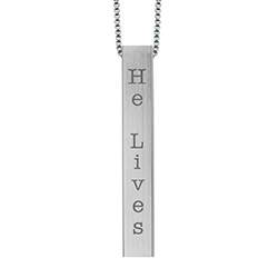 He Lives Four-Sided Bar Necklace lds necklaces, lds bar necklace, lds baptism gift