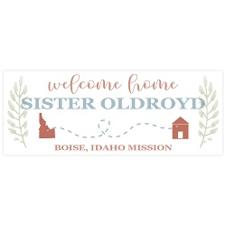 Mission to Home Missionary Welcome Home Banner - Leaves lds missionary banner, borders missionary banner, borders missionary poster, borders mission poster, state or country outline missionary banner