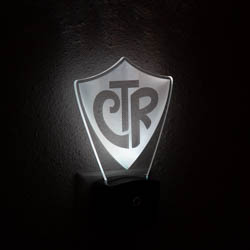 CTR Shield Night Light illuminated light, desk light, desk lamp, lds desk lamp, lds ctr shield, ctr shield, choose the right light, lds gifts