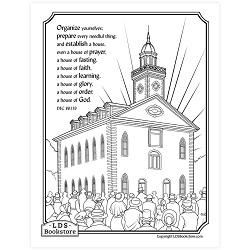 Establish a House of God Coloring Page - Printable free lds coloring page, lds coloring page, come follow me activities, come follow me coloring page, doctrine and covenants coloring page, temple coloring page