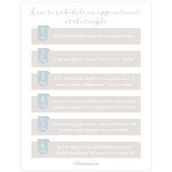 How to Schedule an Appointment at the Temple Instructions - Printable how to schedule an appointment at the temple, lds temple printable, lds temple download