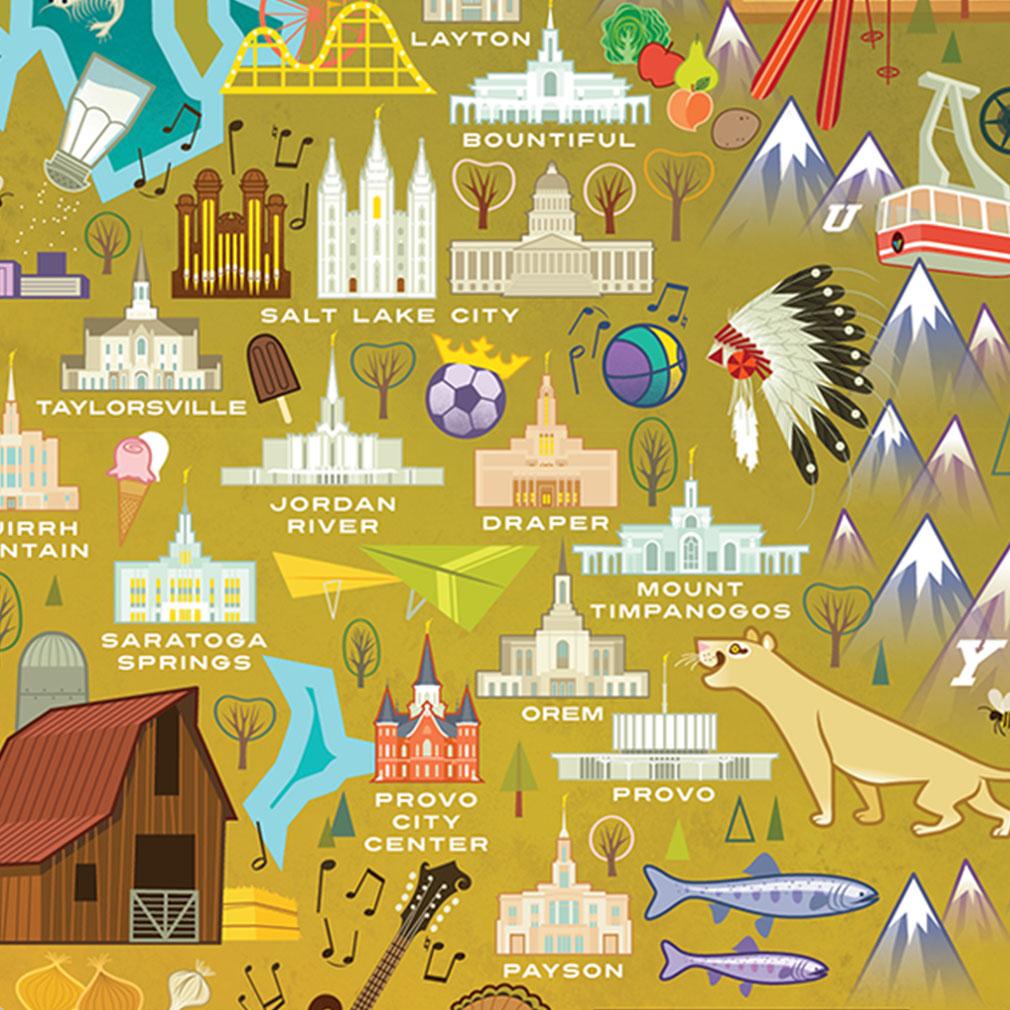 Utah Temple Map Puzzle - BL-2003