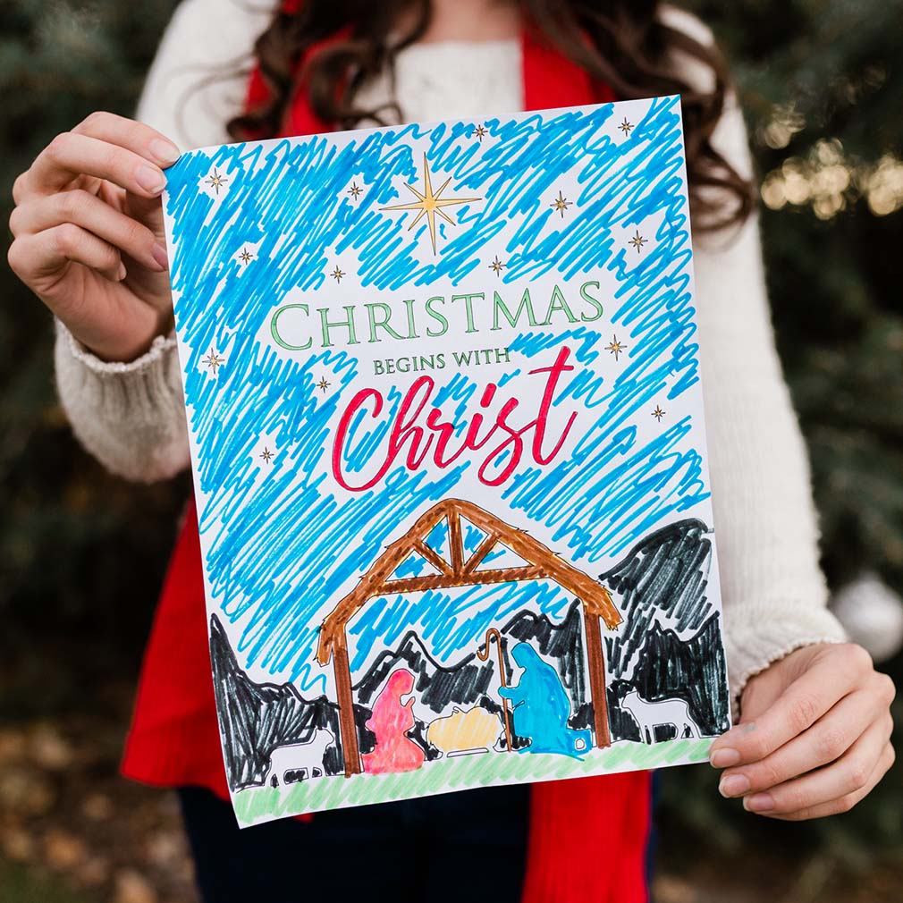 Christmas Begins With Christ Coloring Page - Printable - LDPD-COLOR-CBWC18