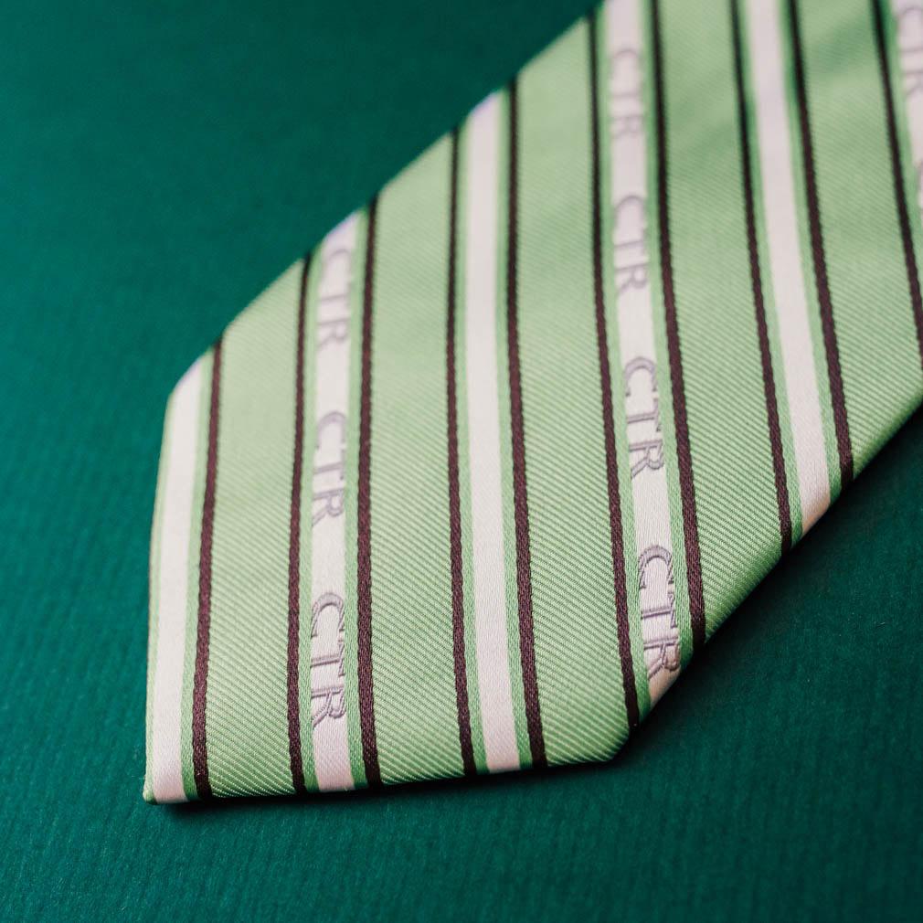 Men's Green and Brown CTR Stripe Tie - RM-HTL075
